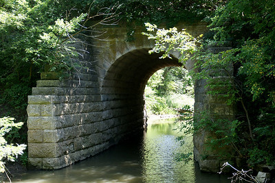 Masonry stone arch bridge at Bala. Former railroad bridge.