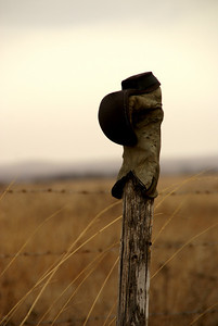 Boot on fence post southeast of Alma