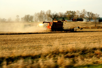 Farmer harvesting soybean field in southwest Wyandotte County