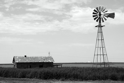 Windmill and building in eastern Logan County. Black and white photo.