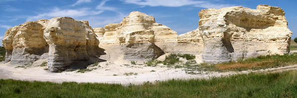Little Pyramids chalk formations. Panoramic stitched photo.