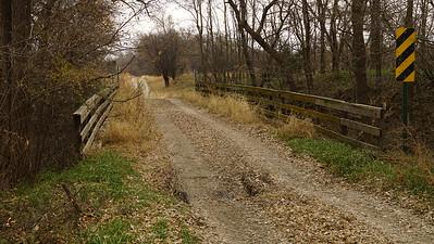 Wood deck bridge over North Fork Prairie Dog Creek at south edge of Almena