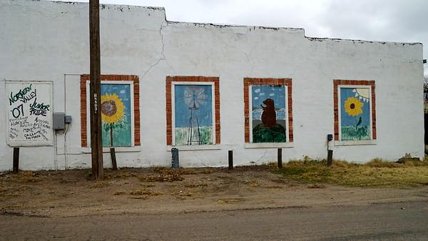 Murals on building in Almena