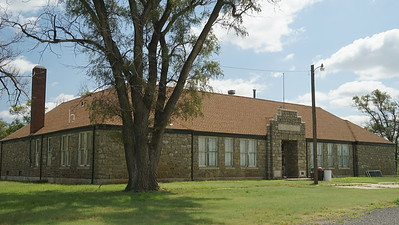 Limestone school building in Ludell
