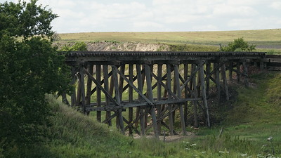 Abandoned railroad trestle near Ludell