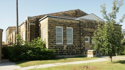Limestone school building in Codell