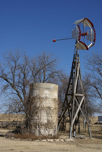 Windmill & water tower at Cottonwood Ranch near Studley