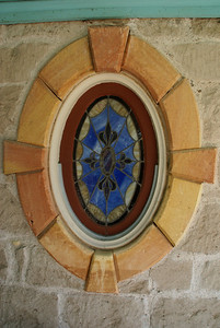 Stained glass window on Cottonwood Ranch house near Studley