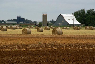 Straw bales in front of farm - eastern Barber County