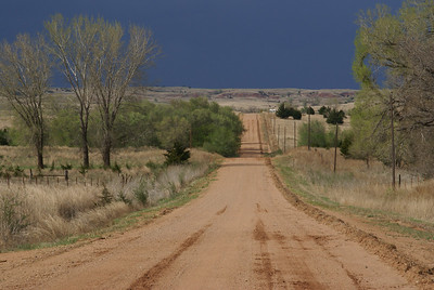 Approaching a storm on Mingona Road - northern Barber County
