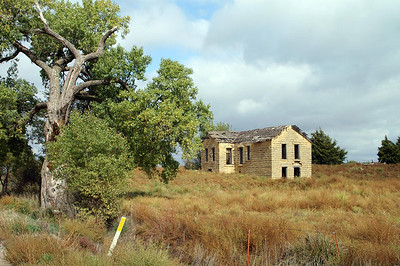 Abandoned Stone building near Claflin