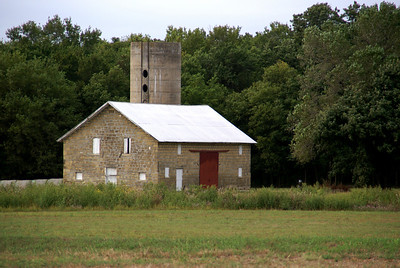 Stone barn and silo - western Cowley County