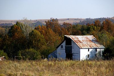 Old barn near Ackler Creek - far southeast Cowley County