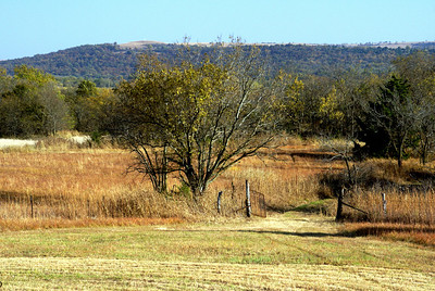 View of hills along Kansas / Oklahoma border seen from Rock Creek Cemetery in far southeast Cowley County.