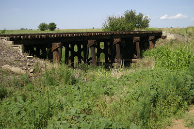 Abandoned wood railroad trestle west of Bluff City - southern Harper County