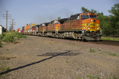 BNSF train passing near Attica