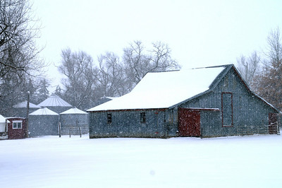 Snowy barn western Harvey County