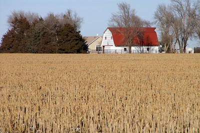 Farmstead with red roofed barn in western Harvey County