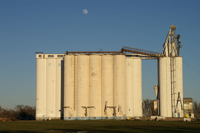 Moonrise over Patterson Coop elevator - western Harvey County