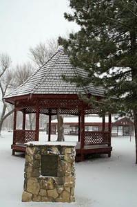 Gazeebo and monument in Sedgwick - Harvey/Sedgwick county line