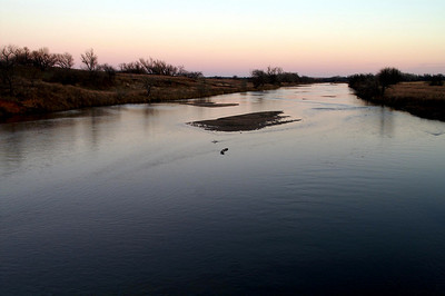 Ninnescah River at dusk - eastern Kingman County