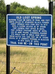 Marker at Old Lost Springs site on Santa Fe Trail