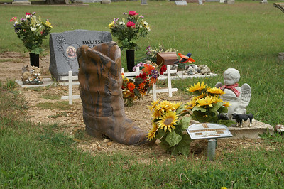 Unique Boot Memorial at Hilltop Cemetery near Raymond