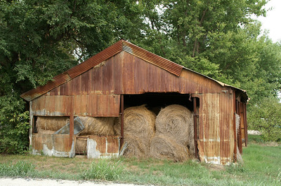 Barn with hay bales near Petrolia