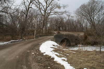 Concrete arch bridge over Little Pawnee Creek - southern Bourbon County.