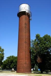 Brick water tower in Weir