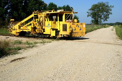 Railroad equipment on Southeast Kansas Rail line near Carona
