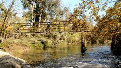 Fly Creek Iron Truss bridge - southwest Cherokee County. Seen from low water bridge