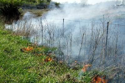 Burning off prairie grasses - northeast Crawford County