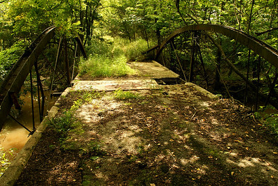 Abandoned bowstring truss bridge over Little Walnut Creek - northwest Crawford County