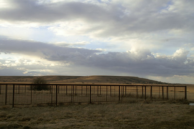 Cattle pens in front of Osage Cuestas - western Elk County
