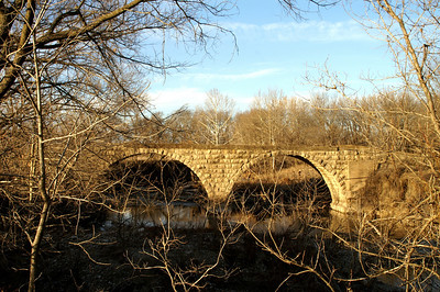 Double stone arch bridge over West Branch Fall River - northwest Greenwood County