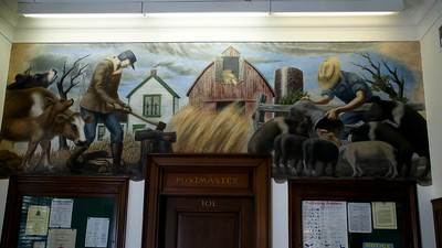 Mural inside Post Office in Oswego