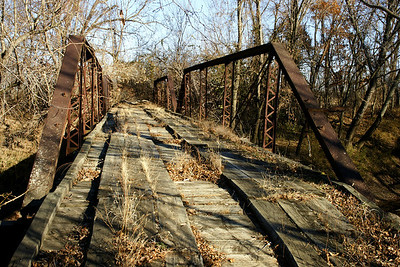 Closed pony truss bridge over Labette Creek - southeast Labette County
