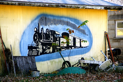 Railroad mural in Oswego