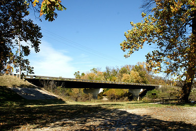 View of bridge over Neosho River at northern edge of Oswego