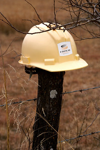 Plastic hard hat on fence - northeast Mongomery County