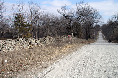 Limestone fence near Neosho River west of US-59