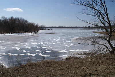 Frozen surface of Lake Parsons - southern Neosho County