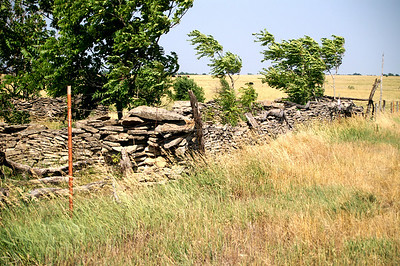 Limestone wall - southeast Woodson County