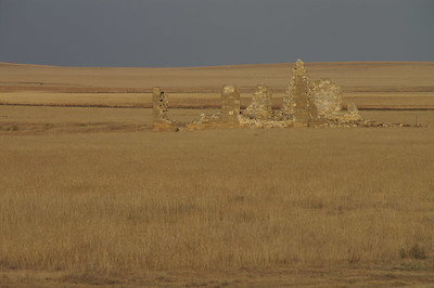 Stone building ruins at former town of Ravanna - Northeast Finney County