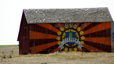 Barn south of Hickok painted with Kansas 150th Anniversary design
