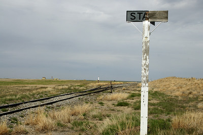 Railroad tracks and sign at former Stano station