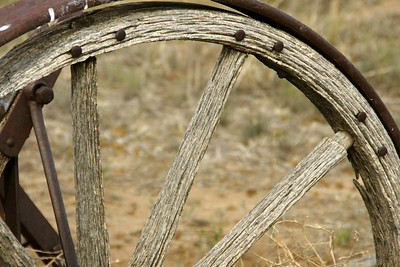 Wheel on old wagon at Wagon Bed Springs historic site.