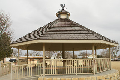 Gazeebo in courthouse square in Tribune
