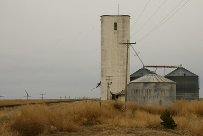 Grain elevator, bins and railroad track at Walkinghood